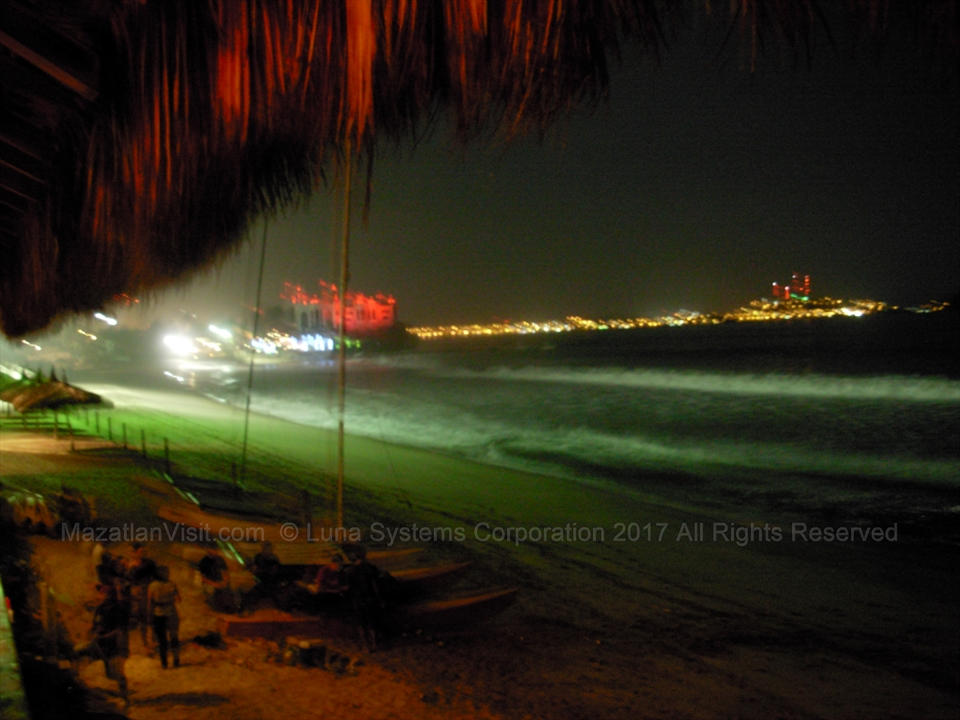 Nighttime view of bay of Mazatlán, Sinaloa, Mexico