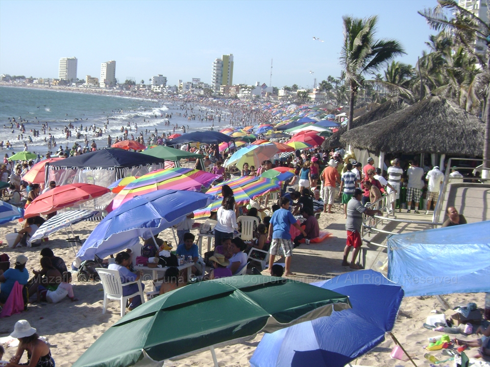 Busy Beach At Easter In Mazatlán Sinaloa Mexico