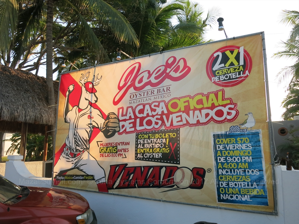 Joe's Oyster Bar sign for Venados in Mazatlán