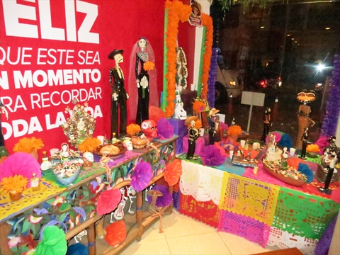 Day of the Dead altar at Panama restaurant in Mazatlán