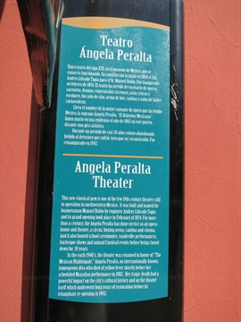 Angela Peralta Theatre plaque in Mazatlán, Sinaloa, Mexico
